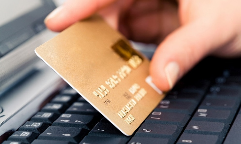 a person holding a credit card in front of the computer