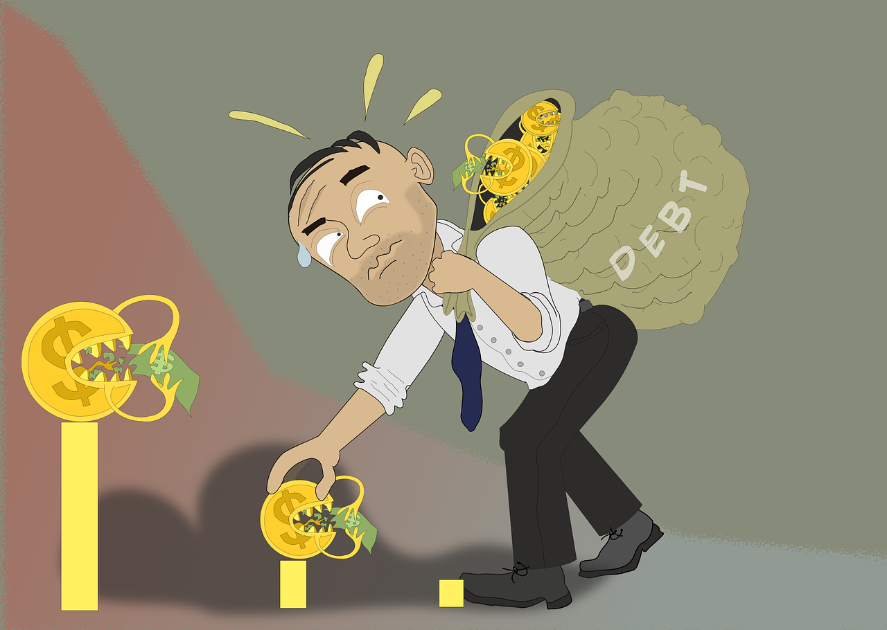 person carrying his debt illustration